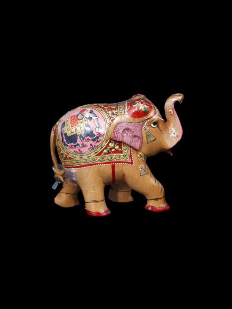 Wooden Elephant Painting -12 CM