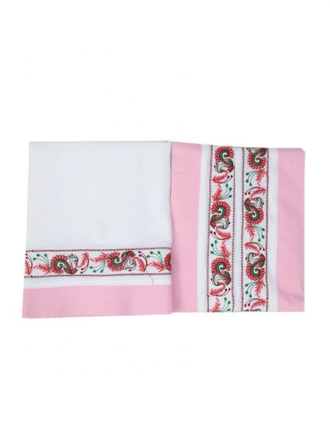 Dhoti Chadar Cotton Embroidery  -Pink