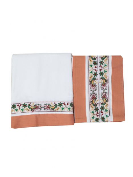 Dhoti Chadar Cotton Embroidery  -Light Brown