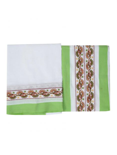 Dhoti Chadar Cotton Embroidery  -Green