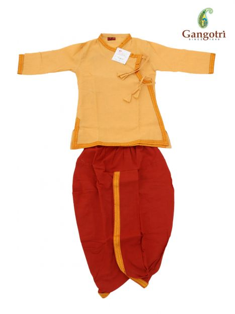 Dhoti Bagal Bandi '3-4 Year'-Light Yellow