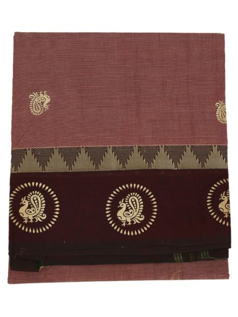 Saree South Cotton -Brown