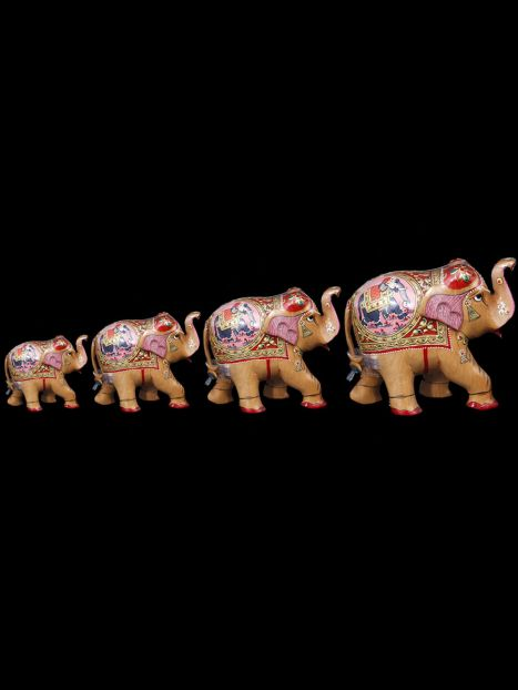 Wooden Elephant 'Painted'