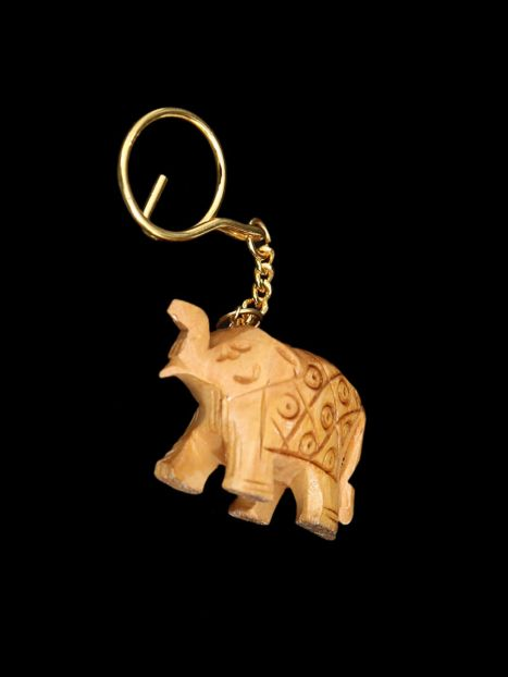 Key Ring Wooden 'Elephant Carving'