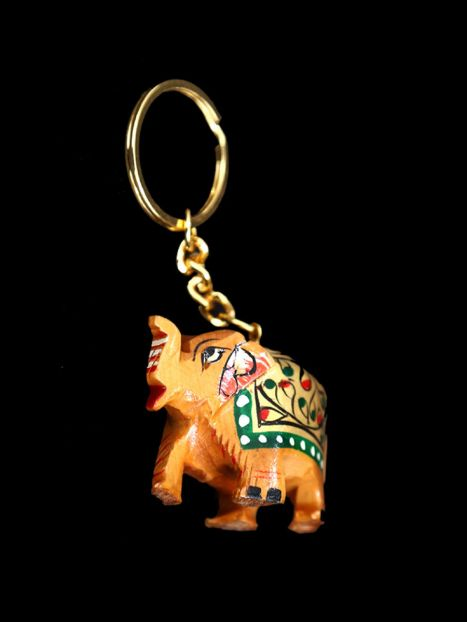 Key Ring Wooden 'Elephant Painted'