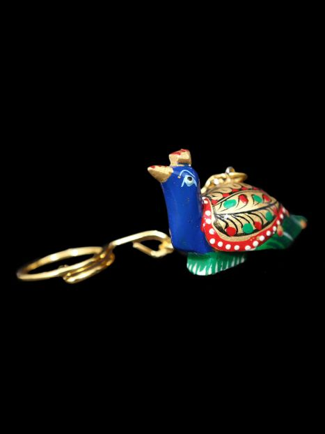 Key Ring Wooden 'Peacock Painted'