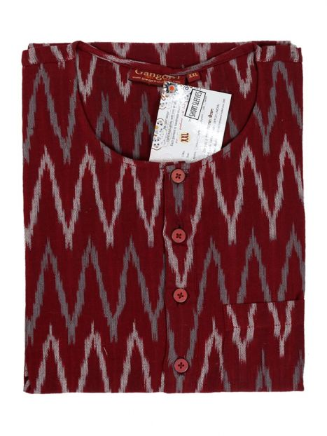 Kurta Cotton 'XXL' Short Sleeves -Mehroon