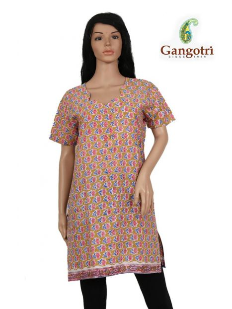 Top Cotton Printed 'Large Size'-Peach