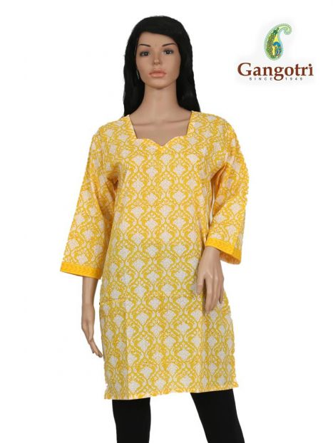 Top Cotton Printed 'Large Size'-Yellow