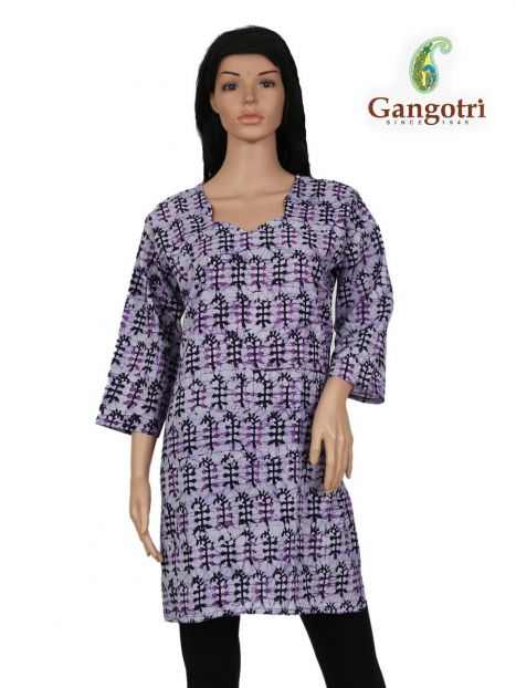 Top Cotton Printed 'Large Size'-Purple