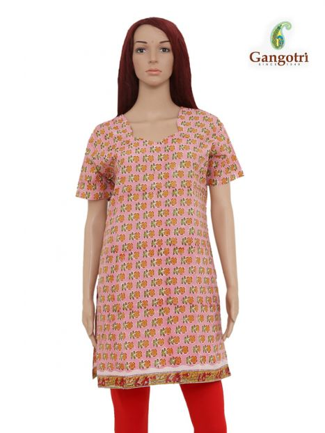 Top Cotton Printed 'Large Size'-Pink