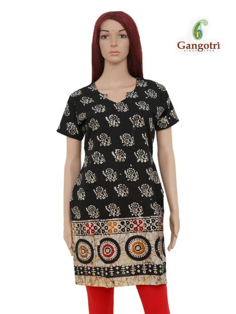 Top Cotton Printed 'Medium Size'-Black