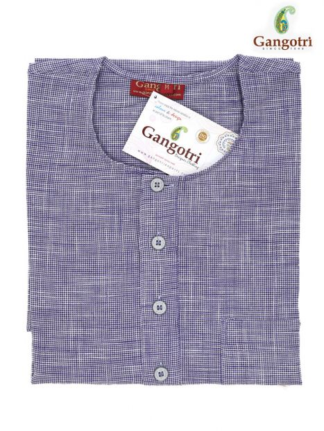 Kurta Cotton  'M' Short Sleeves-Purple-Medium Short Sleeves