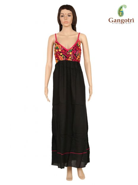 Long Dress Plain Rayon Embroidery