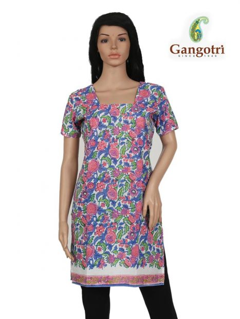 Top Cotton Printed 'Small Size'-Blue