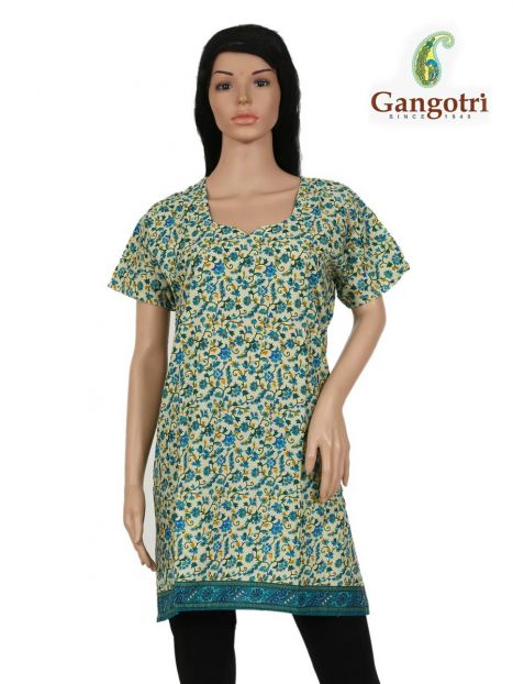 Top Cotton Printed 'Extra Large Size'-Firozi
