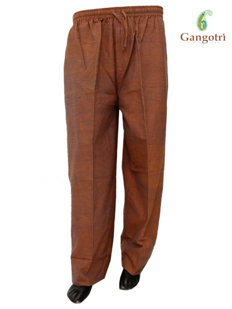 Trouser Handloom Cotton Extra Large Size-Dark Brown