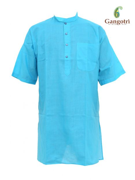 Kurta Collar 'XL' Short Sleeves -Light Blue