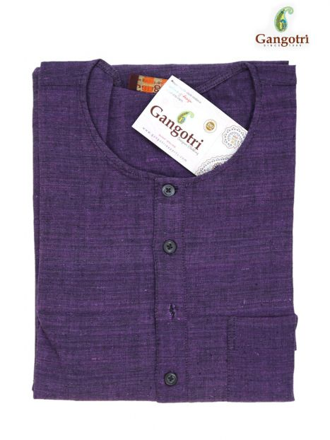 Kurta Cotton  'XL' Short Sleeves-Purple-Extra Large Short Sleeves