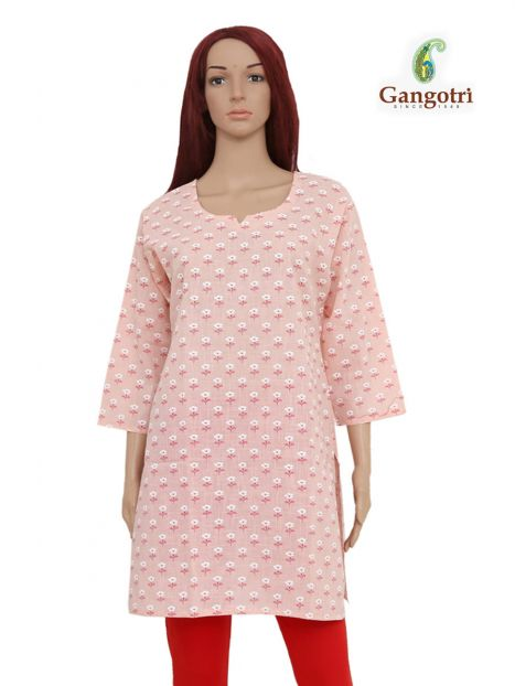 Top Cotton Printed 'Extra Large Size'-Light Pink