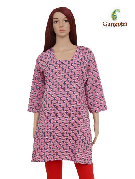 Top Cotton Printed 'Extra Large Size'-Magenta