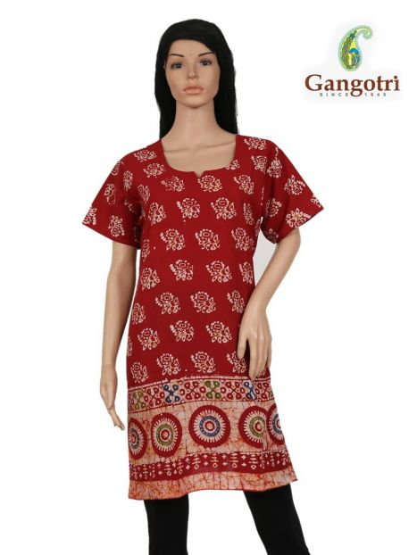 Top Cotton Printed 'Double Extra Large Size'-Red
